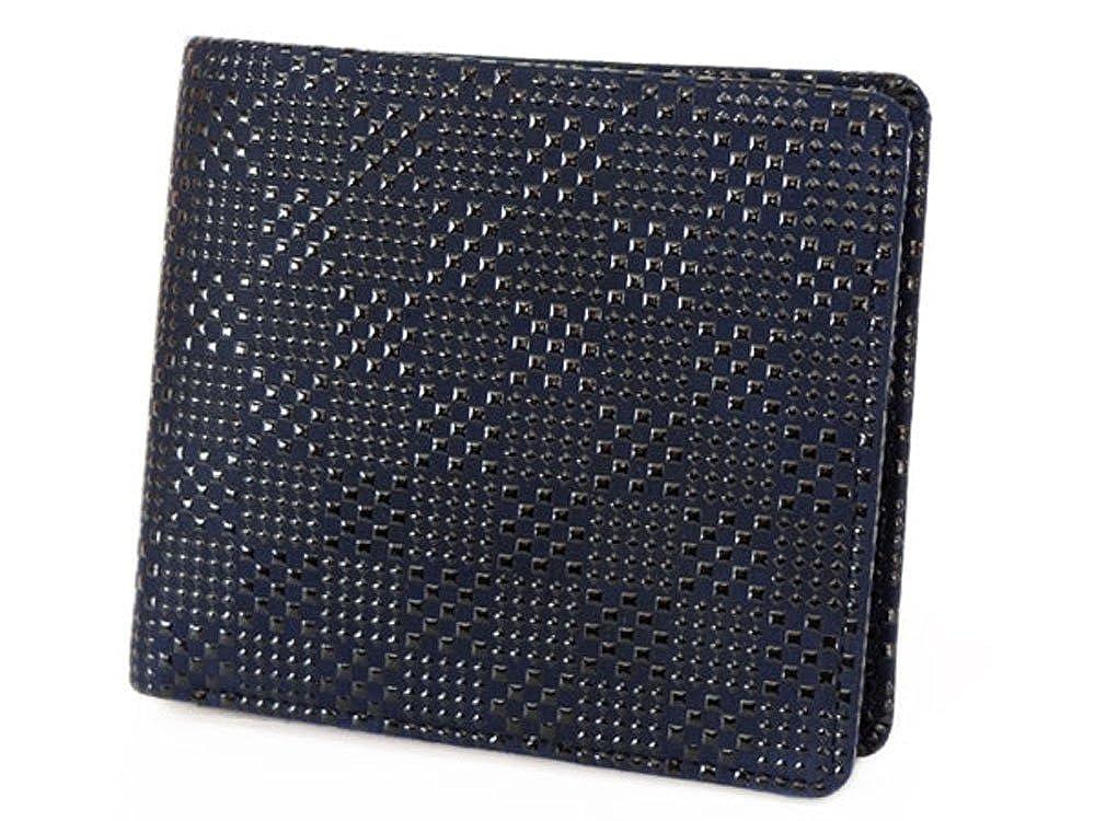 印傳屋 印伝 二つ折り財布 【2003 紺×黒 変わり市松小】 B00KNOBYM6