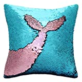 Basumee Mermaid Sequin Pillow with Insert, 16''x16'' Magic Reversible Sequins Cushion for Home Décor (Teal/Pink)