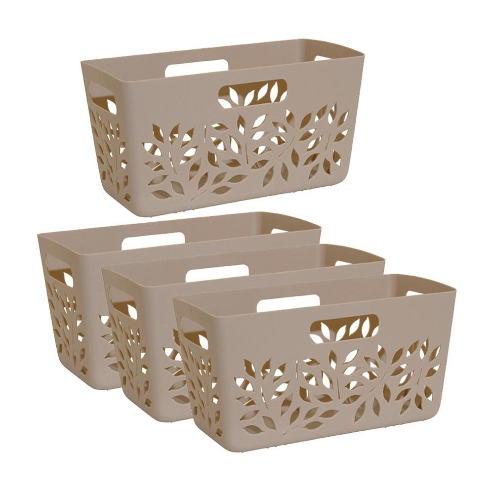 Hutzler Plastic Pantry Basket in Taupe Brown | 4-Piece Set | 6 in x 11.5 in x 5.5 in