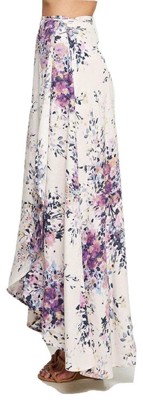 Love Stitch Floral Printed Wrap Skirt Violet (Medium) by Love Stitch (Image #2)