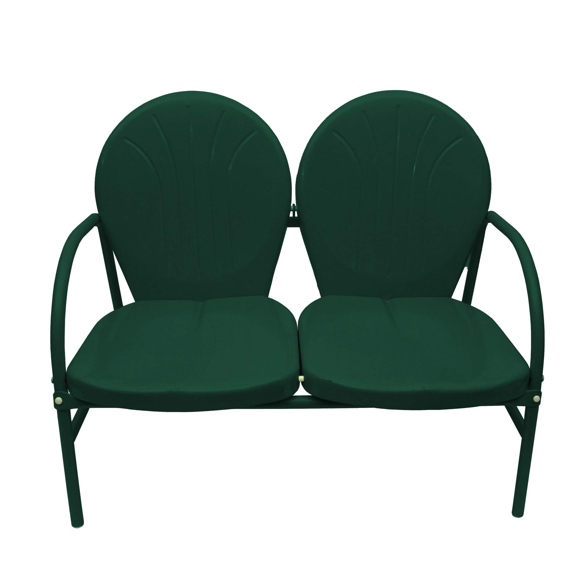Rich Pacific 41'' Hunter Green Retro Metal Tulip Outdoor Double Chair by Rich Pacific