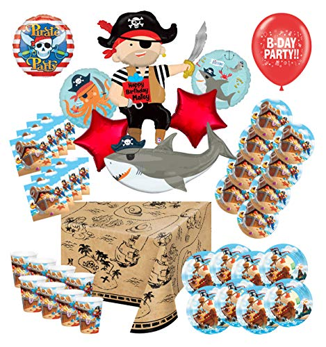Mayflower Products Pirate Party Supplies Happy Birthday Matey 8 Guest Decoration Kit and Balloon Bouquet (Pirate Balloon Bouquet)