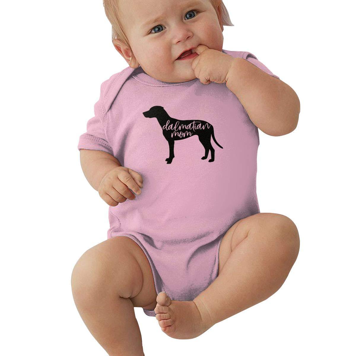 Mri-le2 Toddler Baby Boy Girl Short Sleeve Organic Bodysuit Dalmatian Mom 1 Baby Rompers
