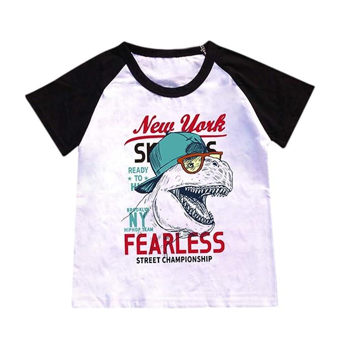 Innerternet-Camiseta de niño,(2-8 años de Edad) Bebes niños Camiseta de Fearless Estampado de Dinosaurios de Dibujos Animados Manga Corta/Costuras en ...