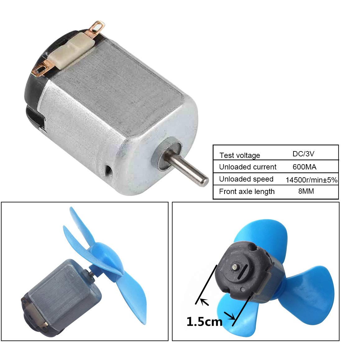 Loweryeah 130 DC Motor Strong Carbon Brush DC 3V 14500 RPM Cars Toys Electric Motor, High Speed Torque DIY Remote Control Toy Car Hobby Motor, Metal Car Engine Motor Kit for Toys