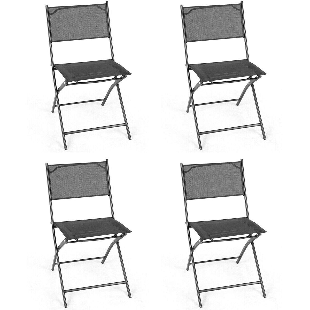Giantex Set of 4 Outdoor Patio Folding Chairs Camping Deck Garden Pool Beach Furniture Black