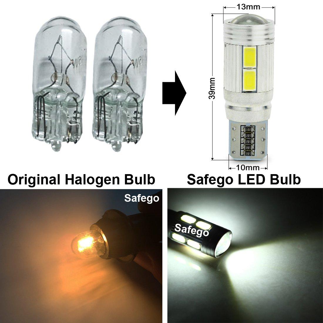 2x T10 W5W LED CANBUS no hay errores Bombillas exteriores 10 SMD 5630 Luz Coche trasera Lámpara Blanco Xenon Luz de interior T10 Wedge Lampara para Coches ...