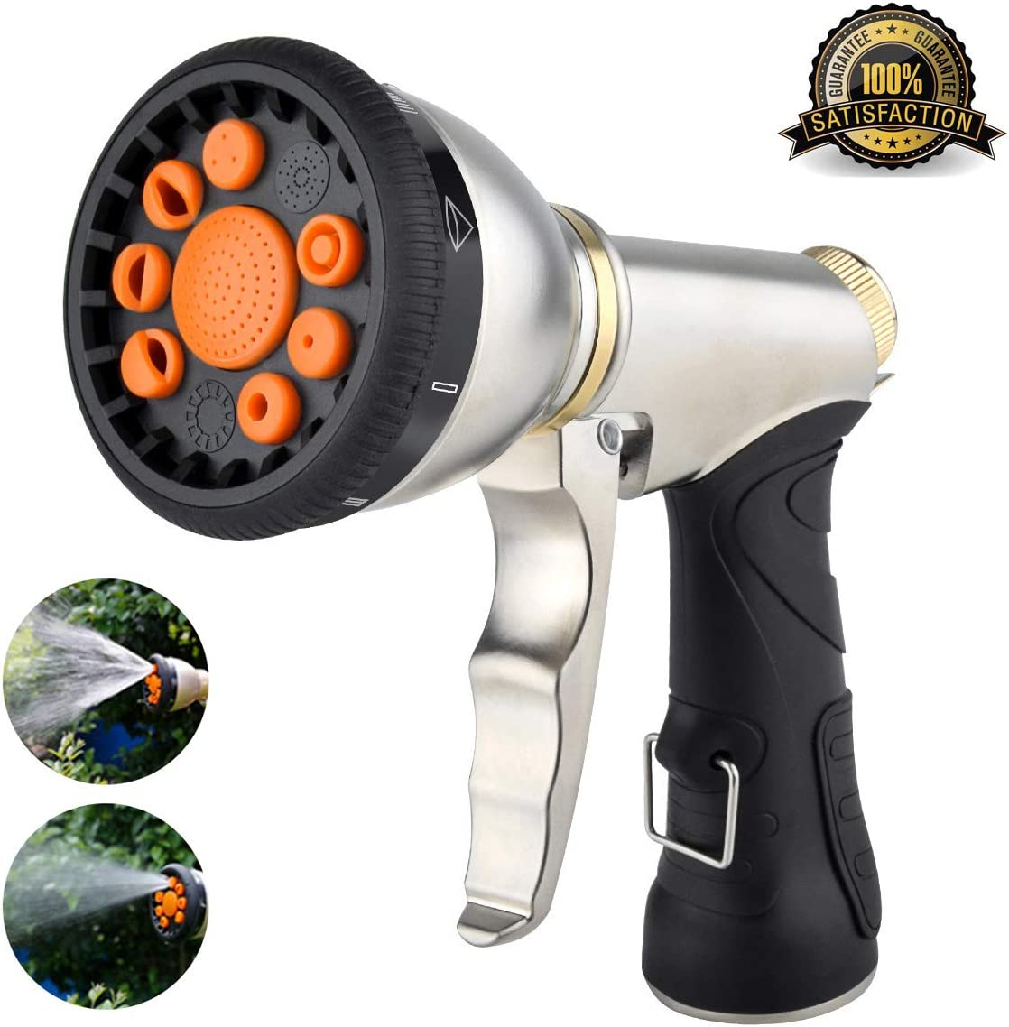 Hose Nozzle Garden Hose Nozzle Heavy Duty Metal Hose Spray Nozzle with 9 Adjustable Patterns Front Trigger Hose Sprayer Water Hose Nozzle for Cleaning, Watering Garden, Washing Cars, Bathing Pets