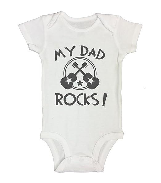 """789fd0d4d9ba Newborn Band Rockstarr Guitar Onesie """"My Dad Rocks"""" - Funny Threadz Kids  Shirt"""