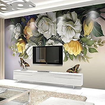 Personnalisé 3D Papier Peint Murs Vintage Rose Fleur Papillon Mural ...