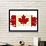 Canada Flavor Canandian Flag and Maple Leaf Retro Trend Beige and Red Pattern Simple Picture Frame Art Prints of Paintings Home Wall Decal