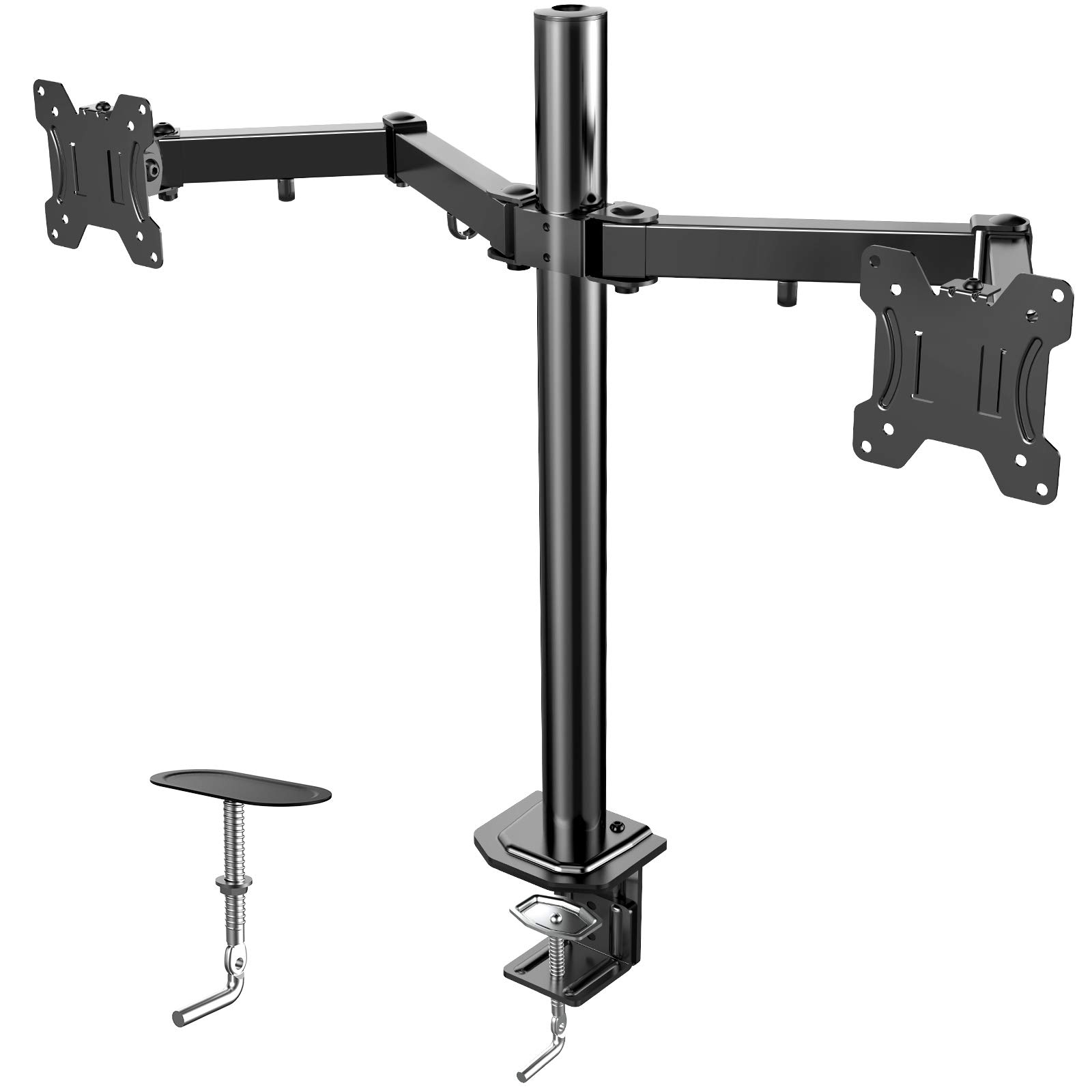 HUANUO Dual Monitor Stand, Fully Adjustable Monitor Arm for Double Curved Screens, VESA 75/100, 13-27 Inch Monitor Mount with C Clamp/Grommet Mounting