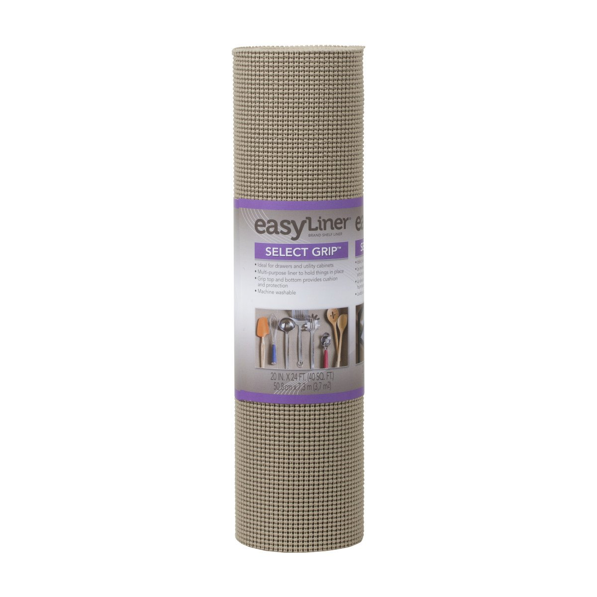 Duck Brand Select Grip Easy Liner Non-Adhesive Shelf Liner, 20 in. x 24 ft, Brownstone (281874)