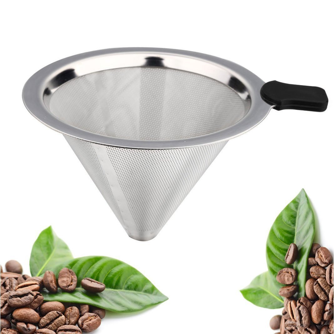 Tai-ying Pour Over Coffee Dripper Filter, Stainless Steel Permanent Reusable Paperless Cone Filters By Tai-ying Double Mesh Drip Coffee Filter For V60 Hario and Other Coffee Carafes by Tai-ying (Image #1)