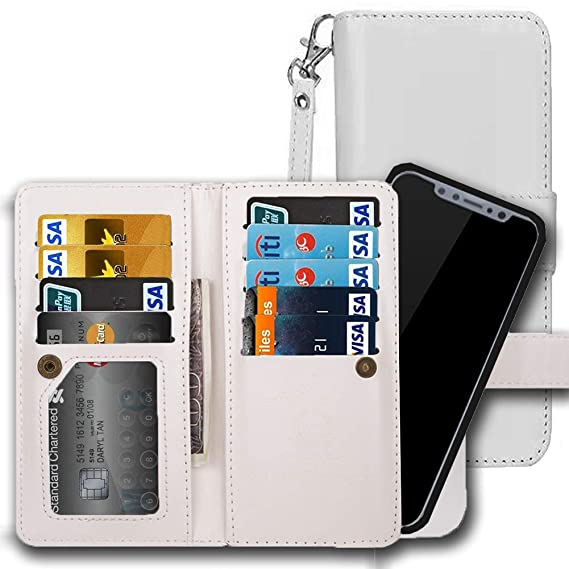 buy online 53a4d 7ab06 Samsung Galaxy S8 Wallet Case, AICOO 2 in 1 Magnetic Removable Flip Leather  Wallet Phone Case Credit Card Hold with Credit Card Slot, ID Slot, Cash ...