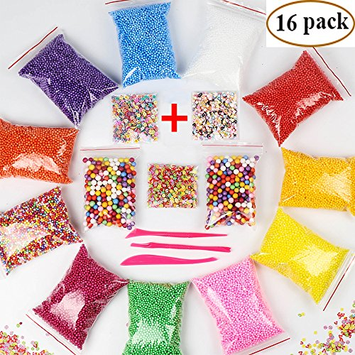 Foam Beads Balls for Slime - Colorful Styrofoam Foam Floam Beads Balls 16 Packs (60000 pcs) with Fruit, Heart, Flower Slices, 3 Tools for DIY Crafts Kids Slime Supplies - Hearts Rainbow Colored