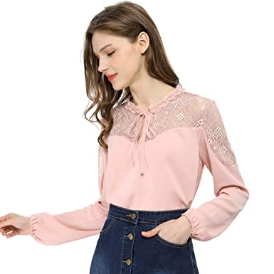f71d8271d9af Allegra K Women's Elegant Long Sleeve Lace Panel Keyhole Strap Chiffon Top  Blouse XS Pink