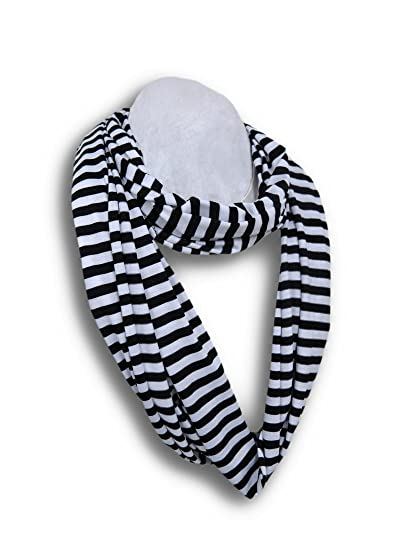 Fashionable Jersey Knit Striped Lightweight Infinity Scarf At Amazon