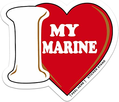 I Love My Marine USMC Vinyl Sticker Decal ~ White with Red Heart