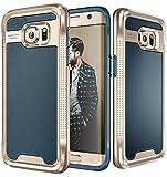 (US) Galaxy S7 Edge Case, E LV Galaxy S7 Edge - Hybrid [Scratch/Dust Proof] Armor Defender Slim Shock-Absorption Bumper Case for Samsung Galaxy S7 Edge - [DARK BLUE/GOLD]