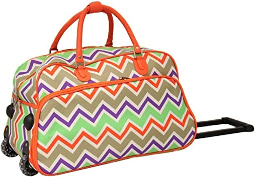 Amazon.com | Orange Chevron Striped Pattern Carry Rolling Upright Duffle  Bag, Stripe | Carry-Ons
