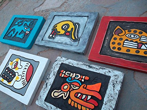 Wooden Aztec Designs Wall Art Set: Lizard,, Rabbit, Cheetah, Skull, Wind, Routed & Painted Native Wall Decor Set, measure: approx. 8 X 11''. (Allow up to 4 weeks for production & delivery) by Sanchezz Wood Art