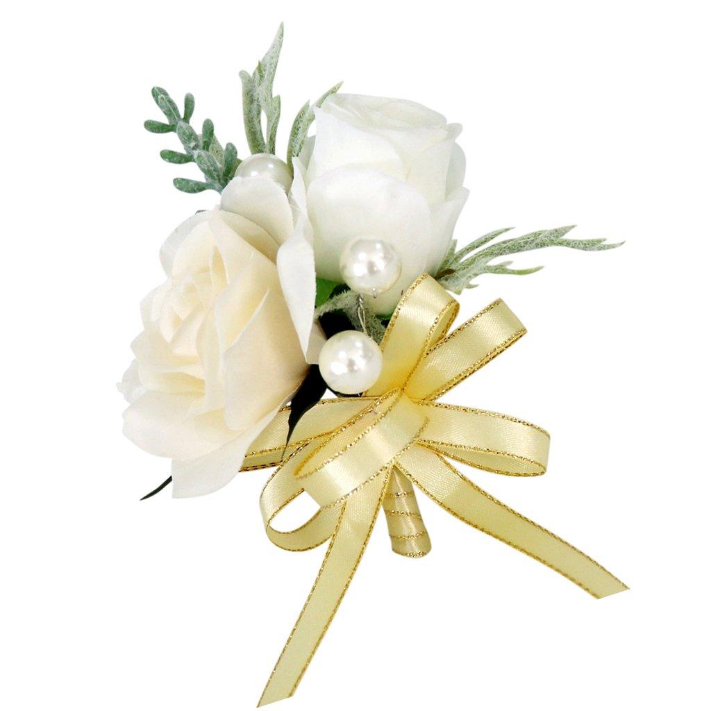 Magideal Hochzeit Seide Blumen Boutonniere Braut Corsage