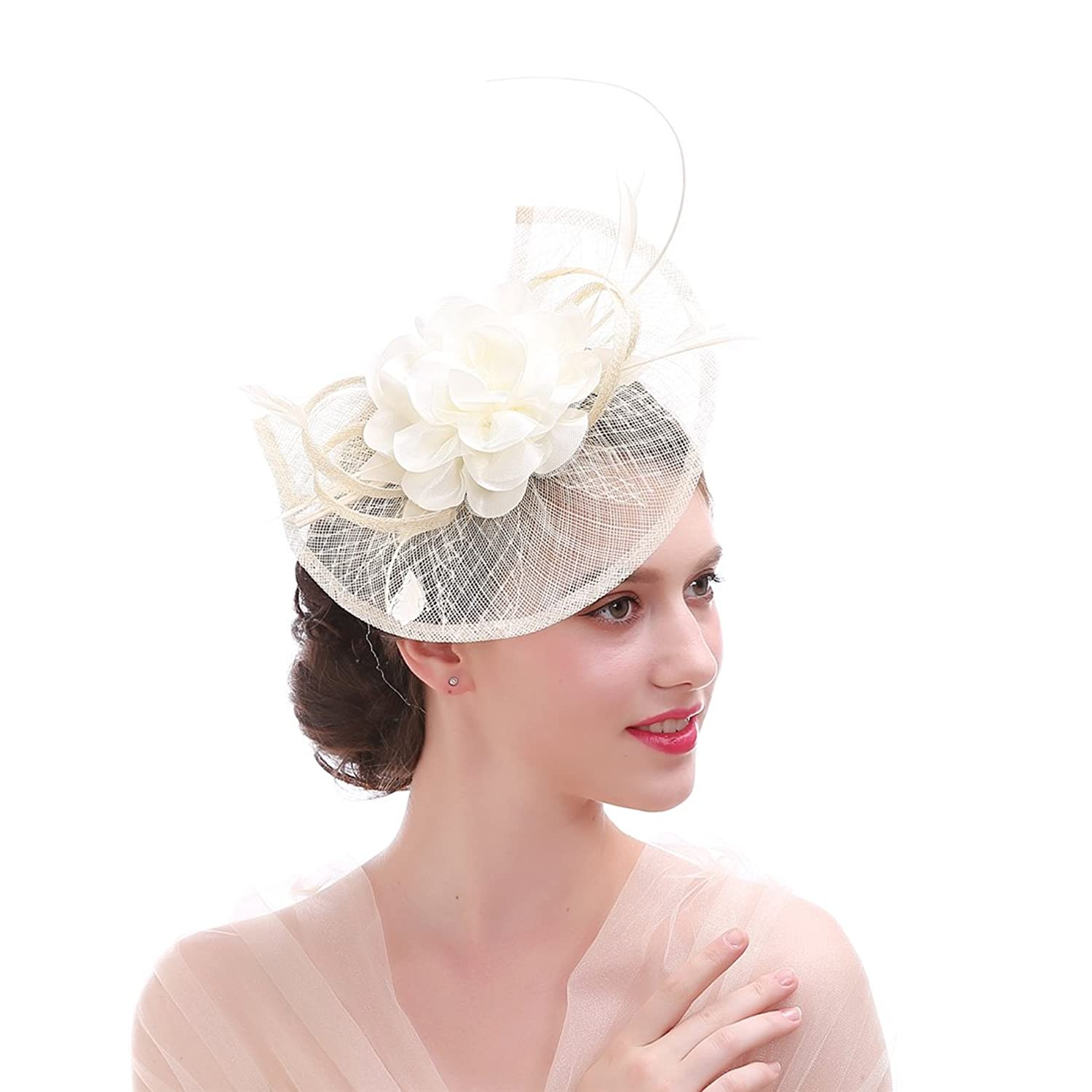 Sinamay Feather Fascinator Headband Flower Derby Hat for Women
