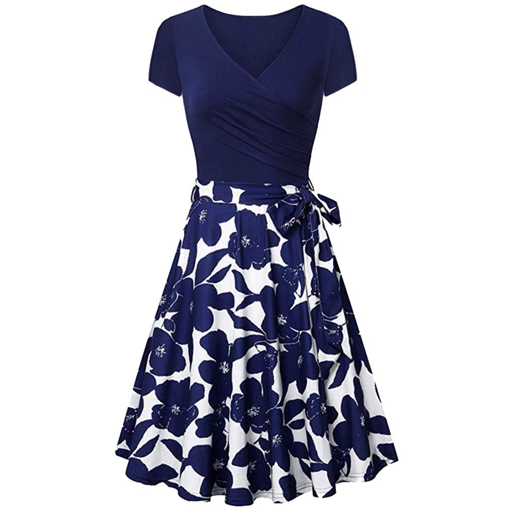 Nmch Women's Print Short Sleeve Cross V- Neck Draped Dresses Vintage Elegant Dress with Belt Cocktail Swing Dress(Blue,XL)