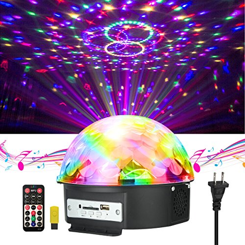 Disco Lights , JELEGANT Dj Light LED Stage Light Party Lights Disco Ball Strobe Light Crystal Magic Ball Lights Sound Activated Strobe Light for Wedding Party KTV Club Pub Show Nightclub Karaoke