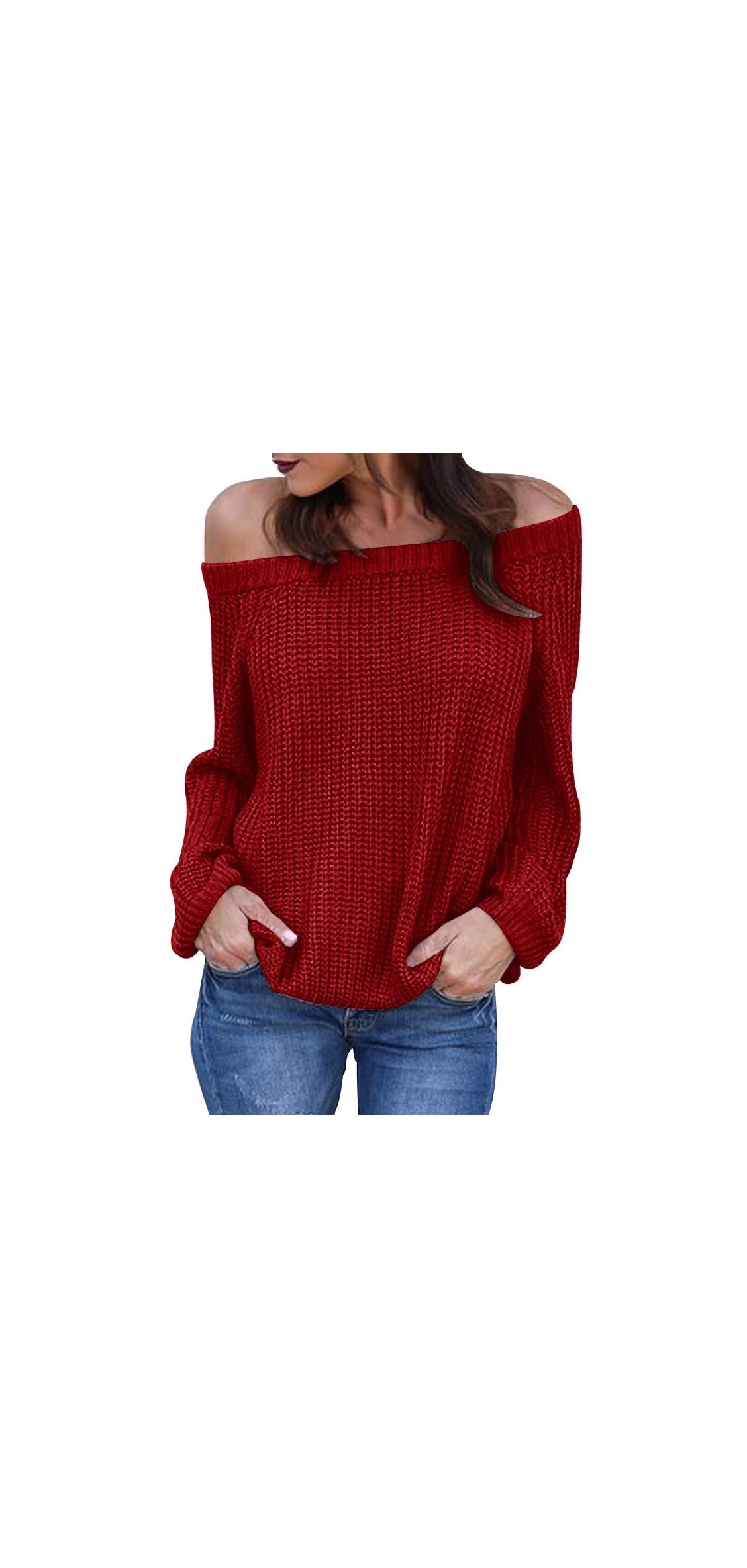 Womens Off The Shoulder Sweaters Fall Oversized Cable