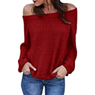 8f43e4e0c364c JOYCHEER Womens Off The Shoulder Sweaters Fall Oversized Cable Knit  Pullover Jumper