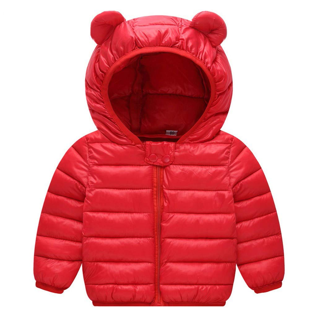 partysu Chlidren Winter Thick Coats Kids Boys Girl Cotton Blend Solid Jacket Ears Snow Outwear for Winter