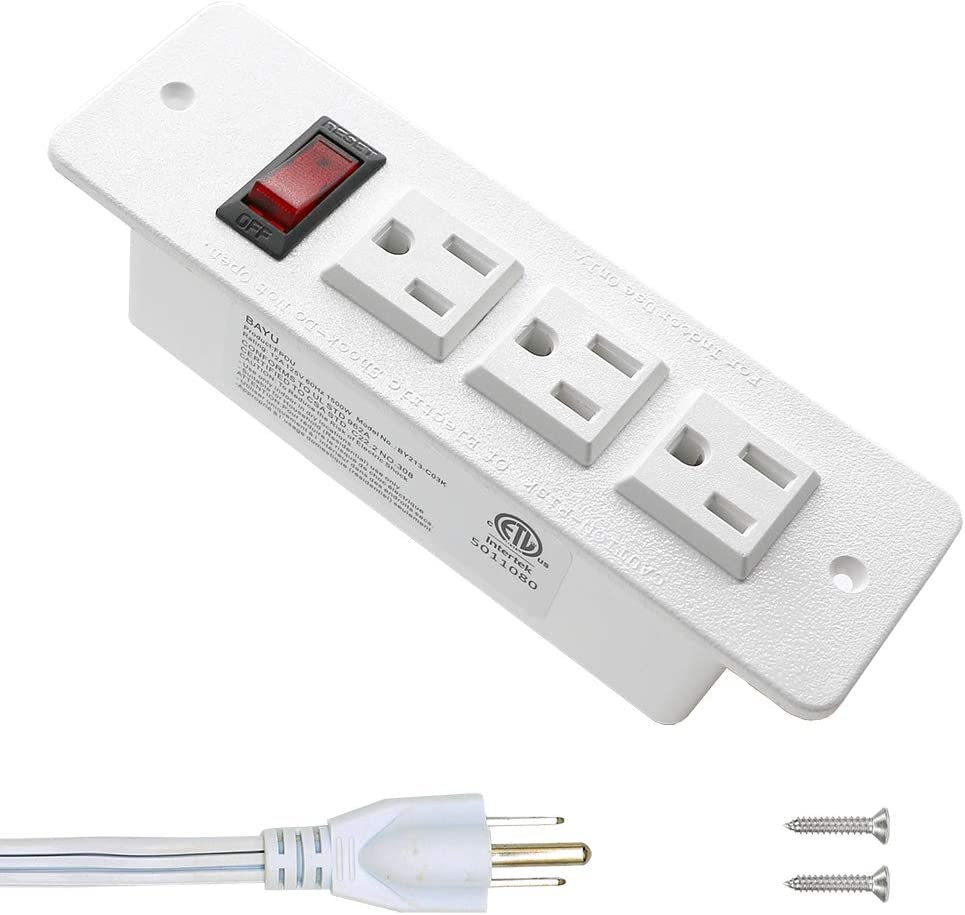 Desk Outlets Recessed Power Strip with Switch Mountable Power Strip with 3AC Outlets White
