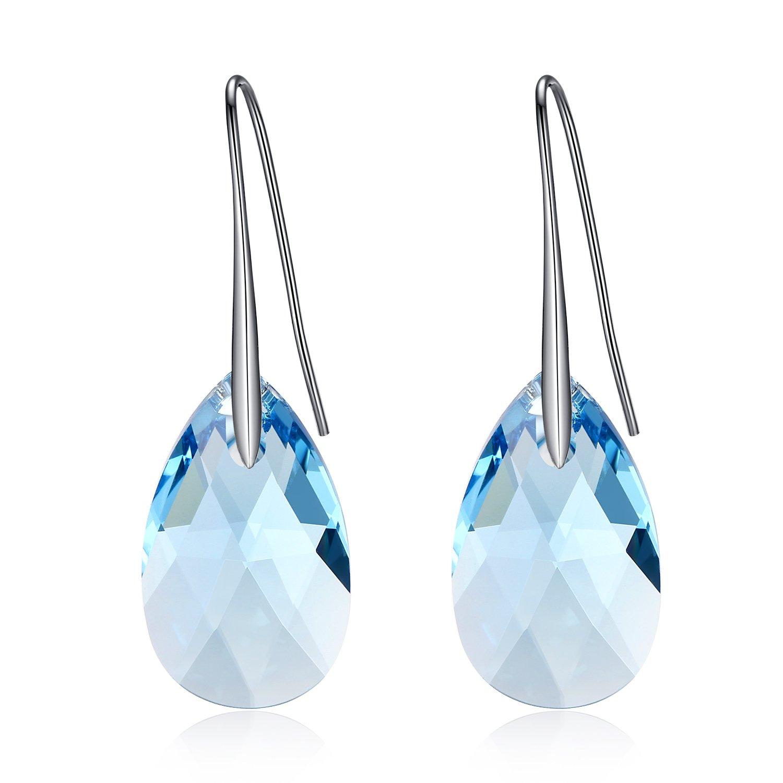 GoSparking color aguamarina cristal azul forma de pera de K oro blanco