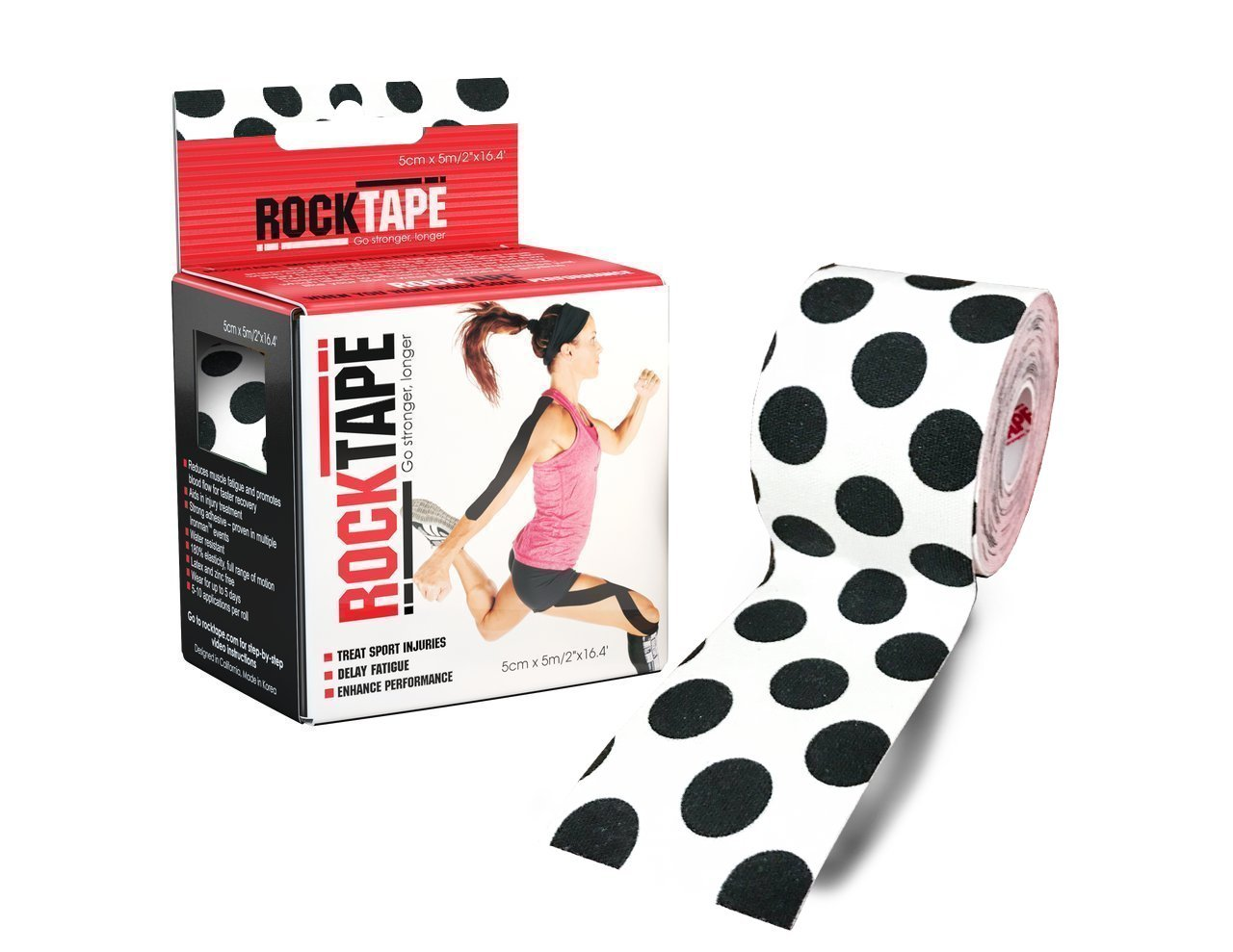 Rocktape Kinesiology Tape for Athletes, Water Resistant, Reduce Pain and Injury Recovery, 180% Elastic Stretch, 1 Roll, 16.4 Feet (Black Polka Dot)