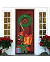 Joiedomi Christmas Elf Window Door Cover Holiday Decoration 72X30 Inches