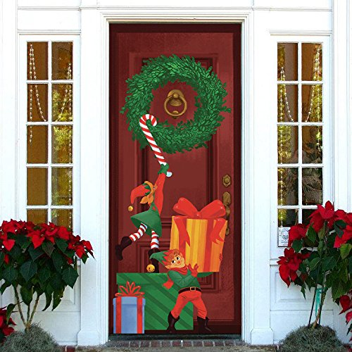 Joiedomi Christmas Elf Window Door Cover Holiday Decoration 72X30 -