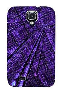 High Quality View Abstract Purple Grid Case For Galaxy S4 / Perfect Case