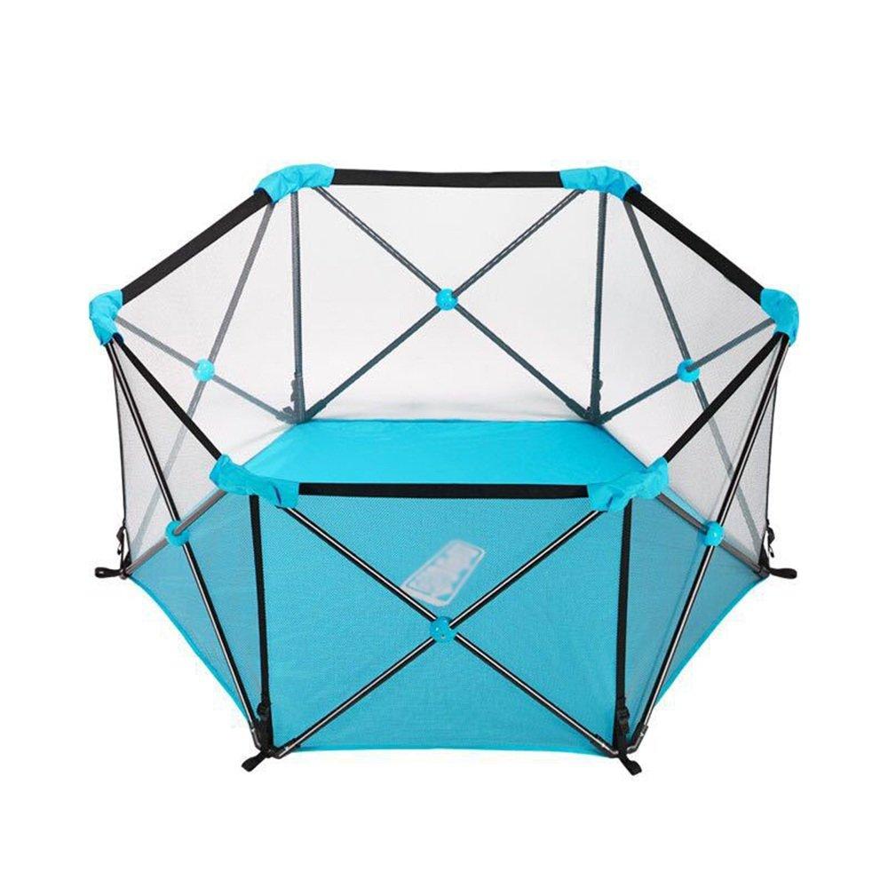 XIAOMEI ポータブルベビープレイペン折りたたみ式の子供の安全ガードレール屋内と屋外のペットフェンス ベッドの手すり (色 : 青)  青 B07GMNTQYB