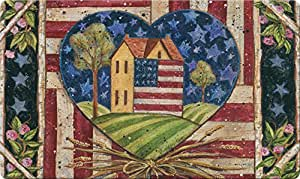 Toland Home Garden 830049 American Folk Heart Recycled Design Mat