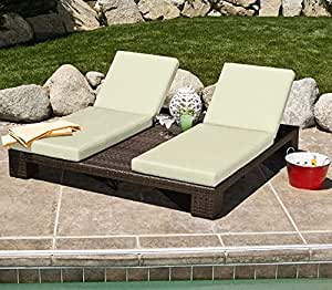 Double Chaise Lounge Outdoor Patio Deck Furniture Pool Lawn Chair