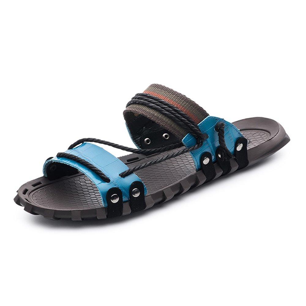 Sunny&Baby Pantuflas de Playa de Cuero Genuino de los Hombres Zapatillas de Cáñamo Casuales Sandalias Planas Suaves Antideslizantes Resistente a la Abrasión 44 EU|Azul