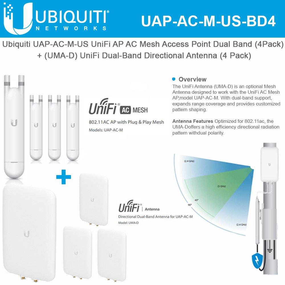 Ubiquiti Uap Ac M Us Unifi Ap Mesh Dual Band Access Point 4 Pack Uma D Directional Antenna Computers