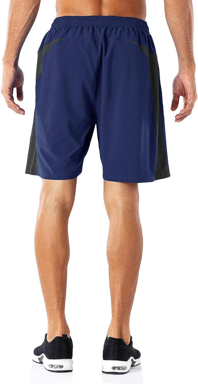 HMIYA Pantaloncini Sportivi da Uomo Running Shorts con Tasca con Zip per Jogging Fitness