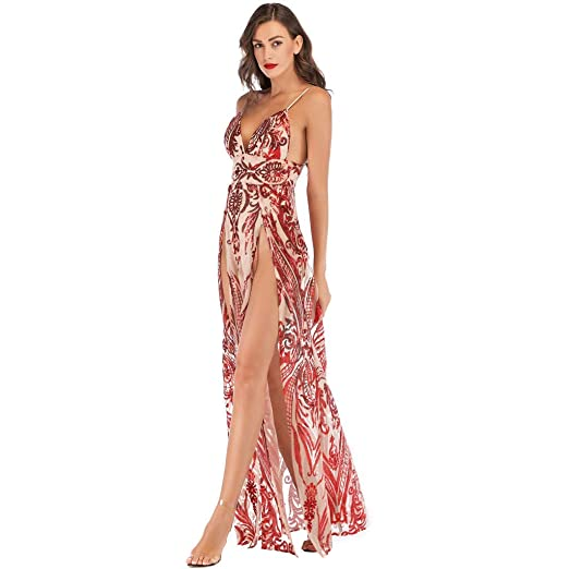 d64a1a4885d Sex Blackless Dress Women Vintage Floral Sequin Cocktail Prom Gown Dress  Halter High Split Deep V Neck Summmer Beach Dress at Amazon Women s Coats  Shop