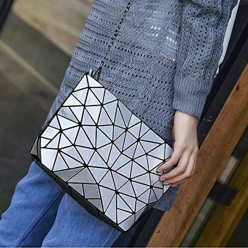 Clutch Bag Women Shoulder PU Kea Bags Bag Geometric Purse Sun Body Chain Bag Silver Bag Cross Laser wYUOtARtqx