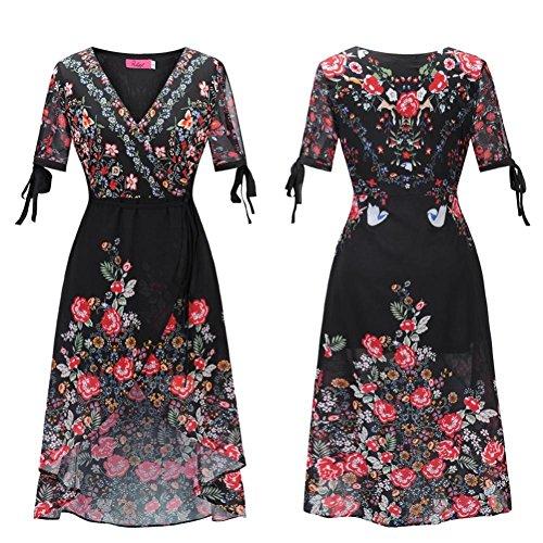 Unregelmäßige Hals Drucktiefe Damen Chiffon Maxi L Böhmische Florale Kleid V Black XHPX5wRq