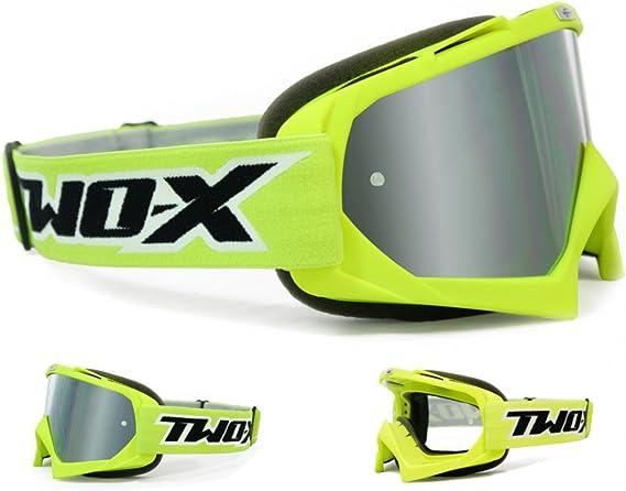 Two X Race Crossbrille Neon Gelb Glas Verspiegelt Silber Mx Brille Motocross Enduro Spiegelglas Motorradbrille Anti Scratch Mx Schutzbrille Auto