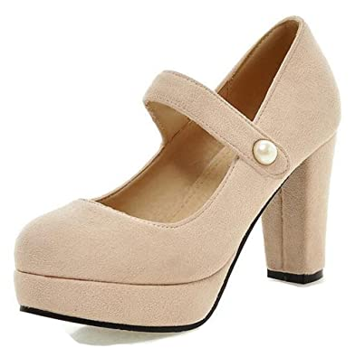 9b7f6a20f9d Aisun Women s Elegant Dressy Hook and Loop Faux Suede Round Toe Platform  Chunky High Heels Ankle